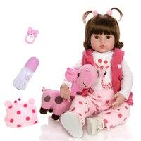KEIUMI 18 Inch/48cm Lifelike Princess Reborn Baby Doll Toy Newborn Silicone Real Touch Baby Doll With Giraffe Birthday Christmas