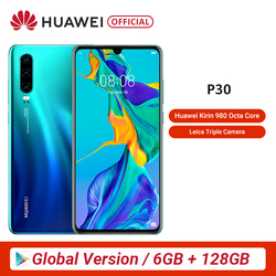 Versão global huawei p30 6 gb 128 gb kirin 980 smartphone 30x digital zoom quad camera 6.1 oled oled tela cheia oled nfc 3650 mah