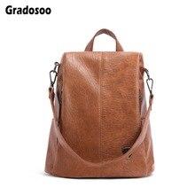 Gradosoo Anti-theft Backpack Women Leather Fashion Shoulder Bag Multifunction Travel Female Vintage New LBF605