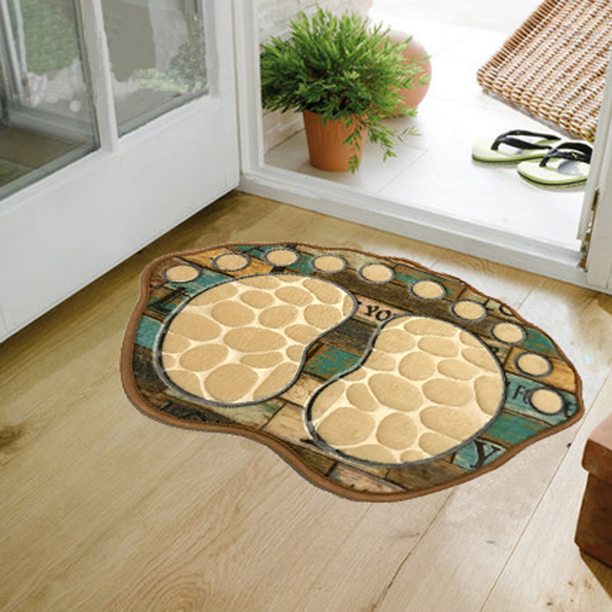 Water Absorbent and Anti Slip Bath Mats with Feet Design for Toilet and Living Room Door