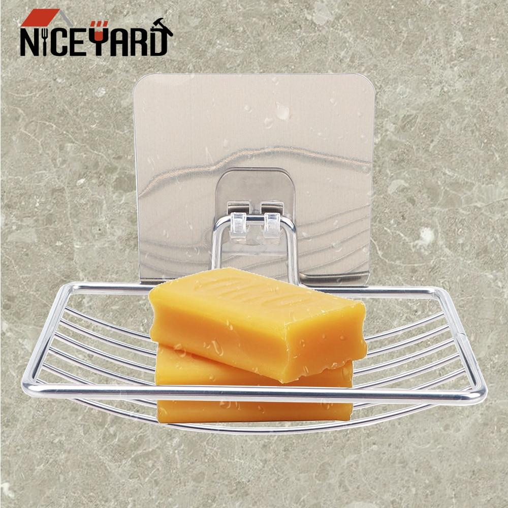 NICEYARD Self Adhesive Bathroom Storage Stainless Steel Home Storage Steel Soap Dish Wall Storage Rack Holder Soap Rack