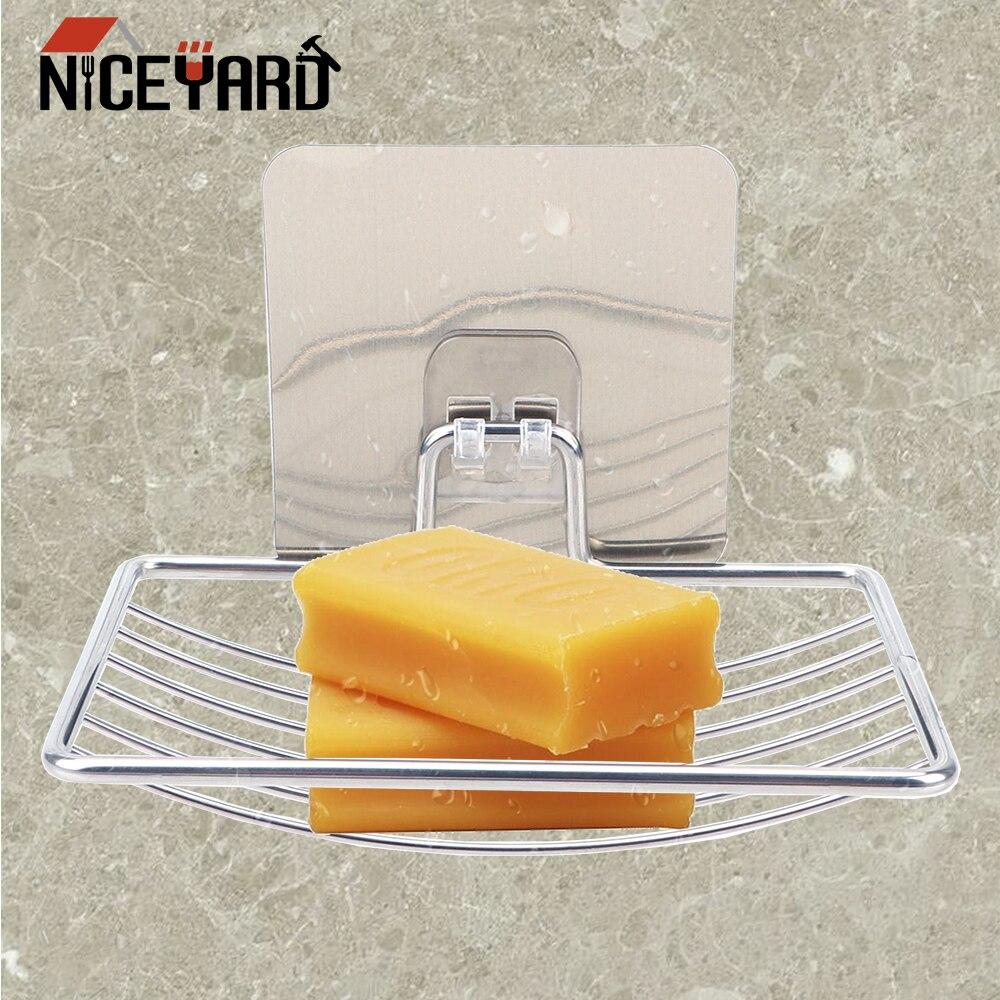 NICEYARD Self Adhesive Soap Holder Home Bathroom Storage Stainless Steel Soap Dish Wall Storage Holder Soap Rack Box