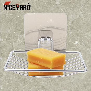 NICEYARD Self Adhesive Soap Holder Home Bathroom Storage Stainless Steel Dish Wall Rack Box