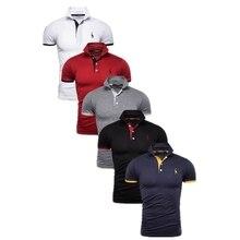 Polo de 5 conjuntos para hombre, camiseta de jirafa, Polos de algodón con bordado de ciervo, Polo de moda entallado para hombre, talla BR