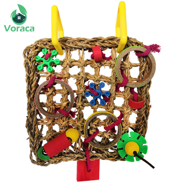 Bird Climbing Net Parrot Toys Woven Seagrass Biting Hanging Hemp Rope Swing Play Ladder Chew Foraging Colorful Funny Parrot Toys 3