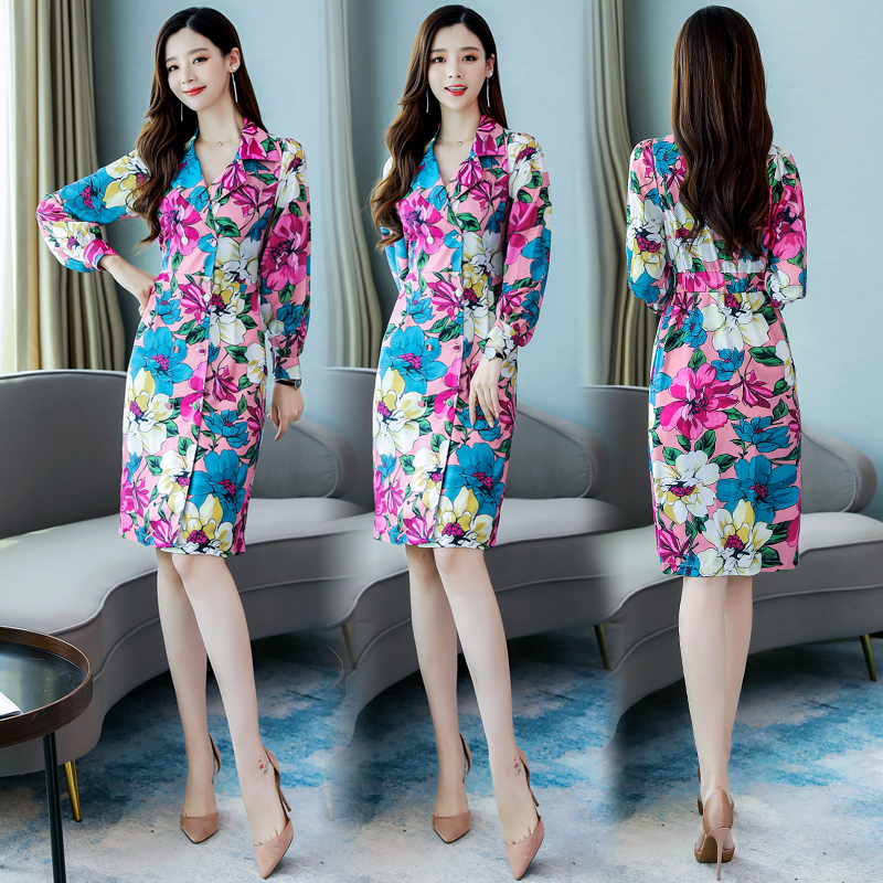New Arrival Women Floral   Trench   Coat Elegant Flowers Printing Lady Long   Trench   Outwear Free Shipping