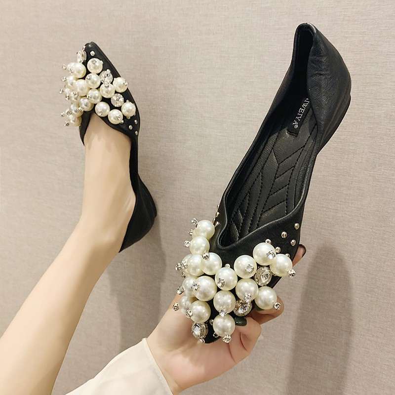 Fairy Shoes Retro Pearl Rhinestone Shoes In Her Tip Wild Soft-Soled Shoes