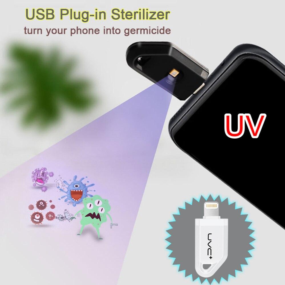 USB Portable Face Mask UV Disinfection Lamp Mini UVC LED Sterilizer Germicidal Lights Lighting/Type-C Interface Phone Sterilizer