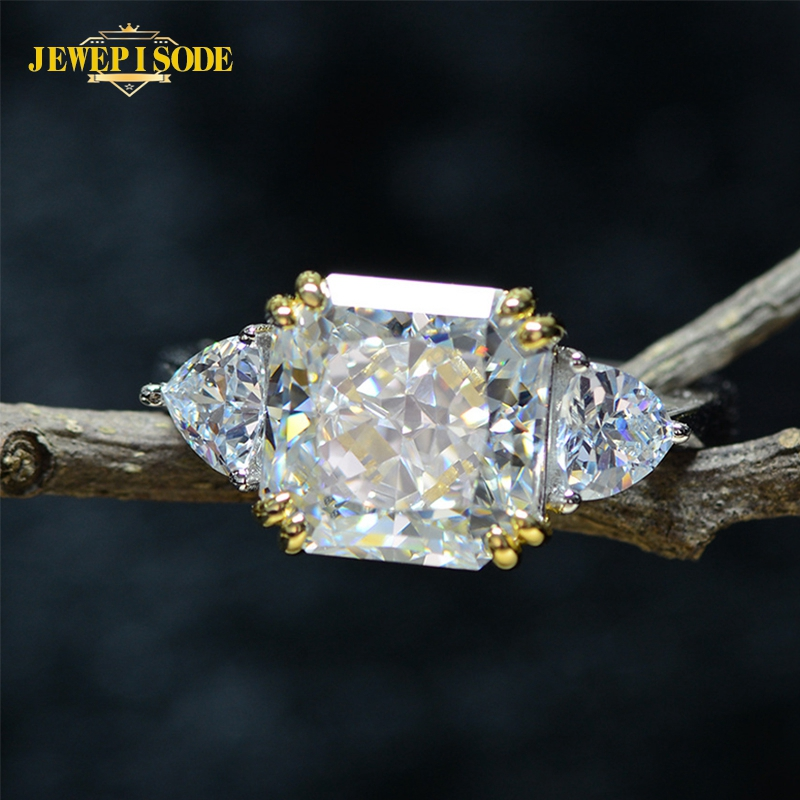 Jewepisode Exquisite 10MM Square Citrine Quartz Wedding Engagement Rings 100% Real 925 Sterling Silver Jewelry Diamond Ring