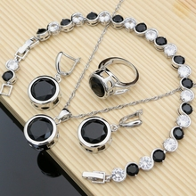 Silver Color  Jewelry Sets Big Black CZ Hyperbole Design Earrings Fashion Suit Necklace Sets Gift for Women Dropshipping цена 2017