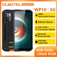OUKITEL WP10 6.67'' FHD Android 10.0 Hellio P35 Octa Core 8000mAh 48MP Quad Camera 8GB 128GB IP68 Rugged Mobile Phone