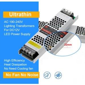Image 4 - Ultra ince LED güç kaynağı DC 12V 24V aydınlatma Transformers 60W 100W 150W 200W 300W 400W AC190 240V sürücü LED şeritler