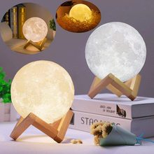 3D Print Moon Lamp USB Recharge Led Night Light Colorful Change Touch Home Bedroom Decor Creative Birthday Christmas Gift Lamp