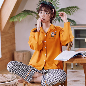 Image 5 - BZEL Cotton Pajamas Set Autumn Winter Women Sleepwear Cartoon 2PCS Nighty Cute Nightwear Suit Female Home Wear Pijama Pyjama 3XL