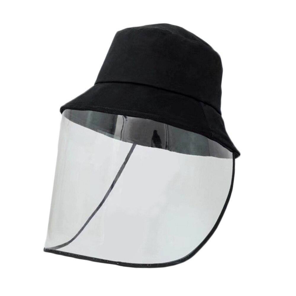 Fisherman Black Bucket Hats PVC Sun Hat With Plastic Mask Protective Face Shield Anti Virus Spread Dust
