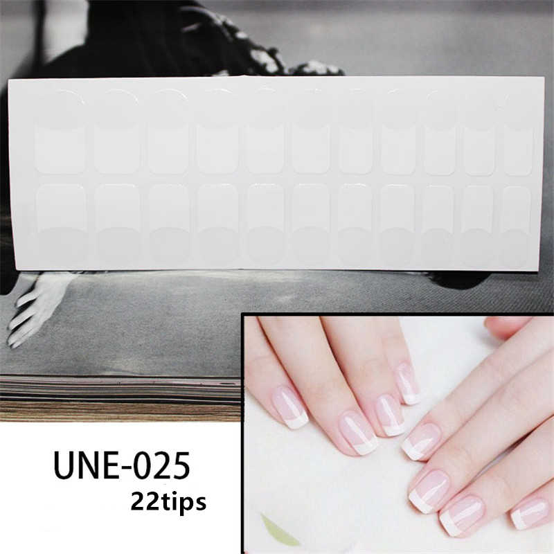 22Tips/1 Vel Nail Art Sticker Witte Franse Nail Wraps Glitter Hart Ontwerpen Diy Volledige Cover Strips Stickers manicure Accessoires