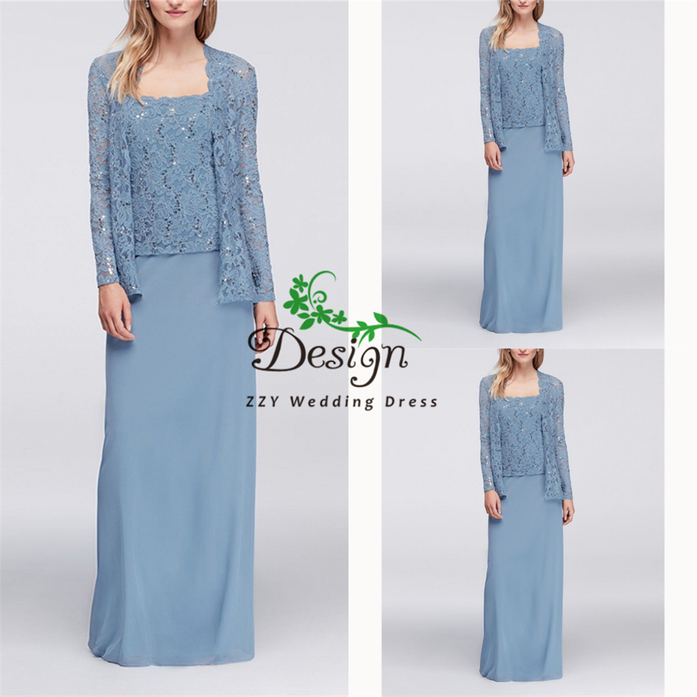 Hot Selling Women's Dresses A-Line Lace And Chiffon Full Sleeves Full-Length Blue Custom-Made Mother Of The Groom Dresses