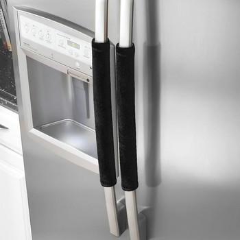 1 para drzwi lodówki osłona klamki urządzenie kuchenne Decor uchwyty przeciwpoślizgowe obudowa ochronna do lodówki piekarnik kuchnia narzędzie # LR2 tanie i dobre opinie ISHOWTIENDA Refrigerator handle cover Mieszanie