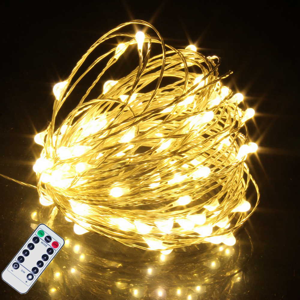 8 Lighting Modes LED String Fairy Lights Christmas Tree Garland Window Wedding Home Outdoor Decoration Solar Battery USB Powered