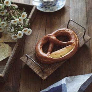 Image 1 - Stary taca drewniany talerz żelazny uchwyt na popołudniowa herbata owocowa kawa chleb ręcznie rustykalny jedzenie zdjęcie rekwizytu