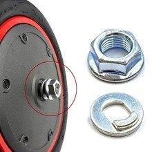 Tornillo de tuerca de rueda de Motor delantero para patinete eléctrico Xiaomi M365 1S Pro2, arandelas de acero y plata, piezas de Hoverboard, 2 uds.