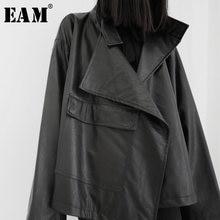 [EAM] giacca in pelle Pu asimmetrica di grandi dimensioni con vestibilità ampia nuovo risvolto manica lunga cappotto da donna moda primavera autunno 2021 19A-a543
