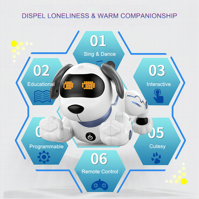K16A Electronic Pets RC Animal Programable Robot Dog Voice Remote Control Toy Puppy Music Song for Kids Birthday Gift 6