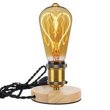 Lámparas de decoración de mesa Vintage E27 soporte lámpara luz de noche LED mesita de noche lámpara de dormitorio para la decodificación del hogar madera maciza aluminio EU macho