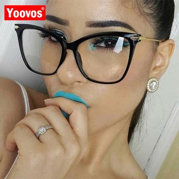 Yoovos kocie oko ramki okularów marka projektant oprawki okularowe ramki okularów kobiet wyczyść Metal duże oprawki Okulary Okulary Vintage kobiety tanie i dobre opinie Unisex Plastikowe tytanu CN (pochodzenie) Stałe NQ2460 Glasses Eyewear Eyeglasses Round face Long face Square face Oval shape face
