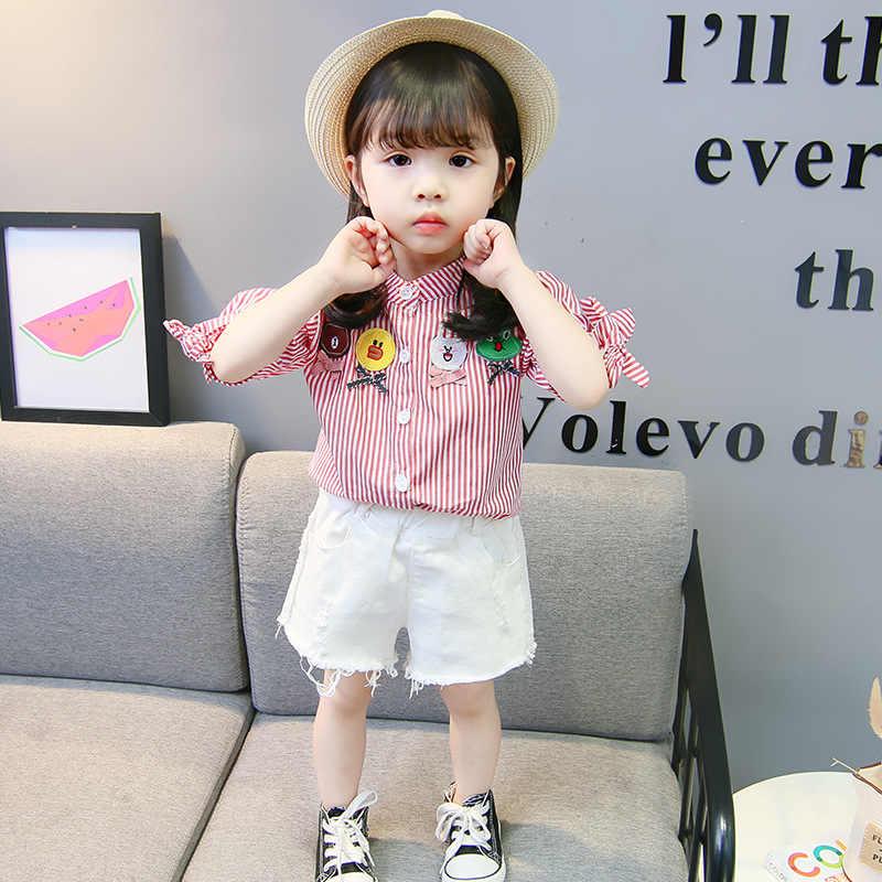 الفتيات النمط الغربي قميص 2019 نمط جديد الكورية على غرار الأطفال قصيرة الأكمام قميص طفل قميص المرأة الصيف نصف كم بلايز