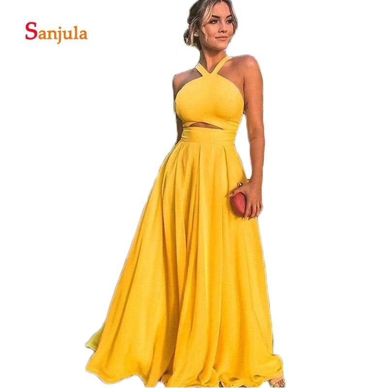 Licou a-ligne robes de bal jupe en mousseline de soie jaune foncé charmante robes de bal taille trou de serrure Sexy longues robes de Graduation D1144