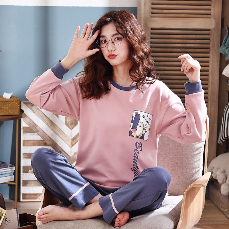 Autumn Cotton Cartoon Pajamas Set Women Pyjamas Sleepwear Loose Long Sleeve Pijama Mujer Home Clothes Long Pants Night Suit 2pcs