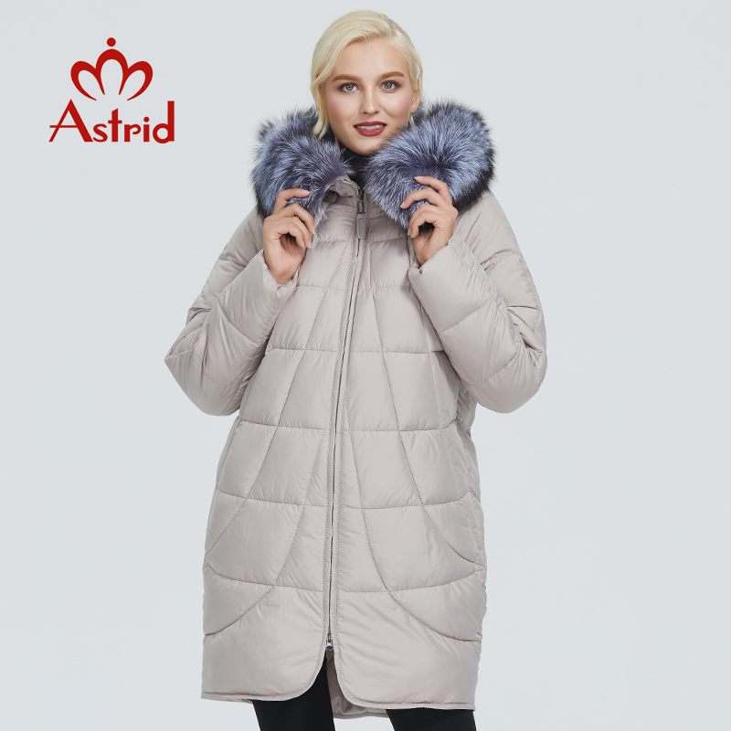2019 Astrid Winter Jacket Women With Fox Fur Collar Design Long Thick Cotton Clothing Fashion Warm Women Parka AR-9179