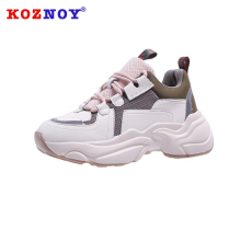 Koznoy Sneakers Women Spring Autumn Fashion Thick Bottom Dropshipping Breathable Waterproof Platform Lace Leisure Shoes