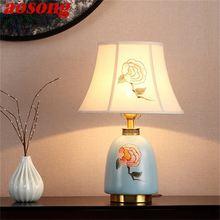 Латунные настольные лампы aosong керамический светильник для