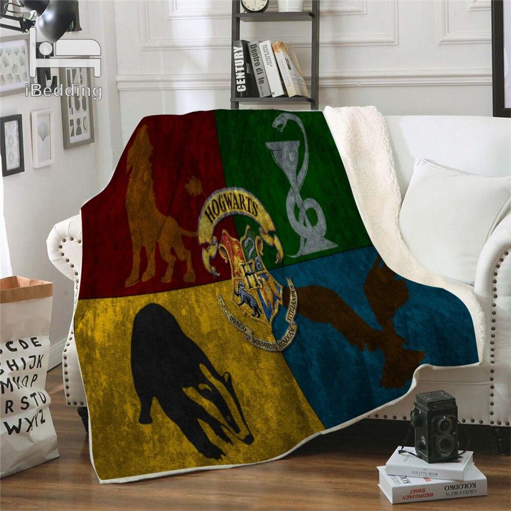 Hot Movie Cartoon Potter Classic Premium Throw Blanket Print on Demand Sherpa Blankets for Sofa Customized DIY Plush Thin Quilt-2