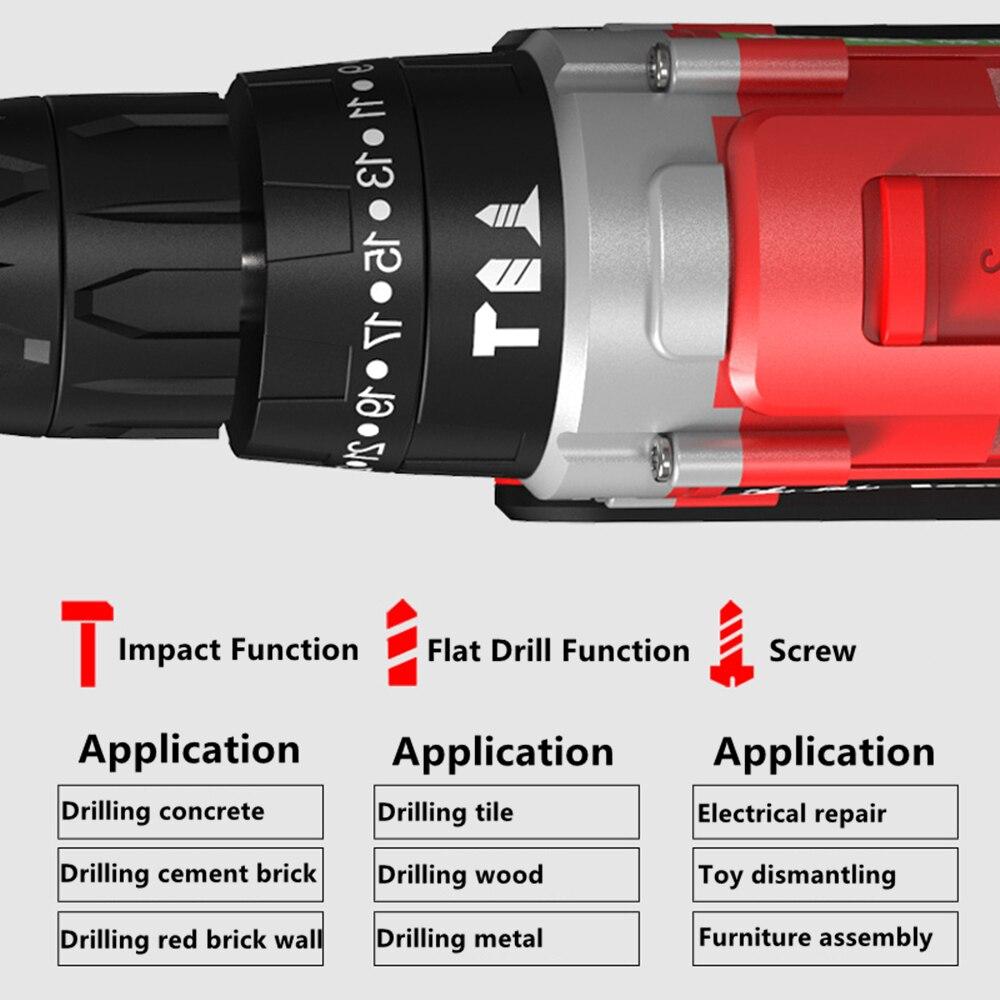 HENGDIAN 68Nm Zwei Geschwindigkeit Cordless Elektrische Auswirkungen Hammer Bohren Maschine 21V 1,5 Ah Batterie Bohren