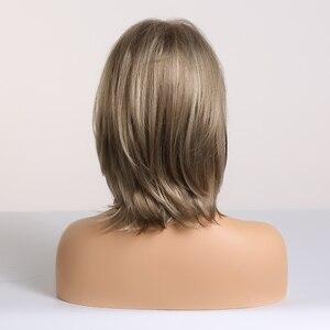 Image 5 - EASIHAIR Kurz Braun Synthetische Perücken für Frauen Männer Bob Perücken Cosplay Täglichen Layered Natürliche Haar Hitzebeständige Volle Perücken