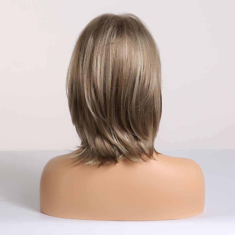 EASIHAIR kısa kahverengi sentetik peruk kadınlar için erkekler Bob peruk Cosplay günlük katmanlı doğal saç isıya dayanıklı tam peruk