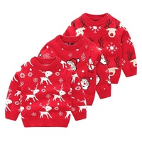 Boys and Girls Autumn Children's Sweater Christmas Cartoon Deer Head Knitted Baby Sweater Top
