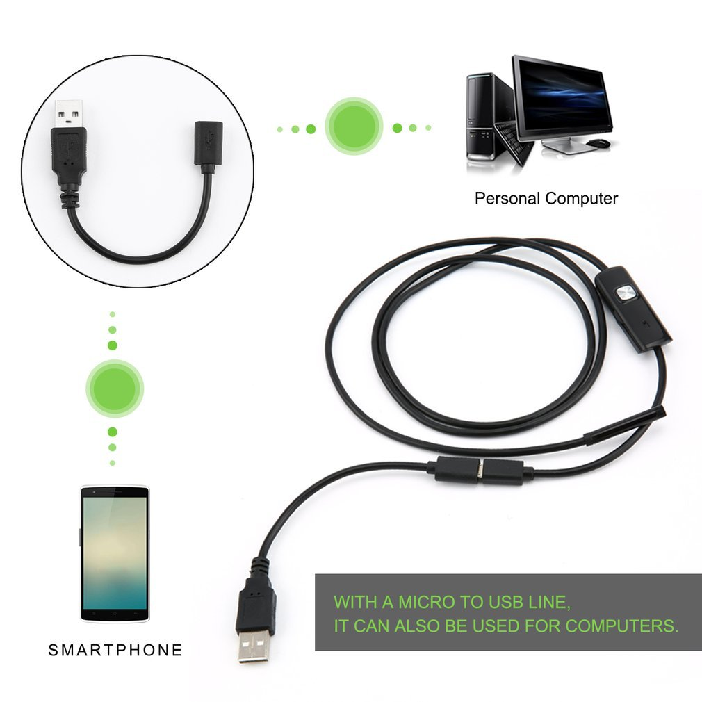 1.5M 6 LED 5.5mm Lens Endoscope Waterproof Inspection Borescope For Android Focus Camera Lens USB Cable Waterproof Endoscope