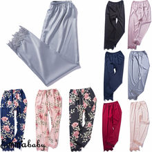 Sleep Bottoms Sleepwear Loungewear Homewear Women Lady Sexy Silk Lace Pajamas Pa