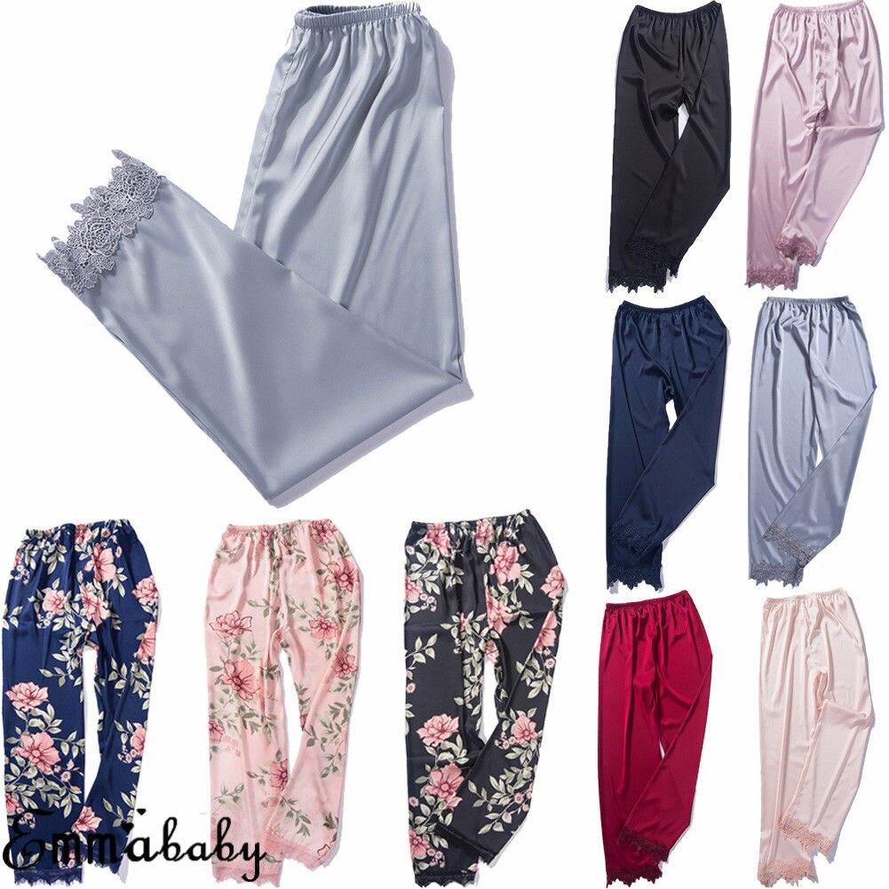 Sleep Bottoms Sleepwear Loungewear Homewear Women Lady Sexy Silk Lace Pajamas Pants