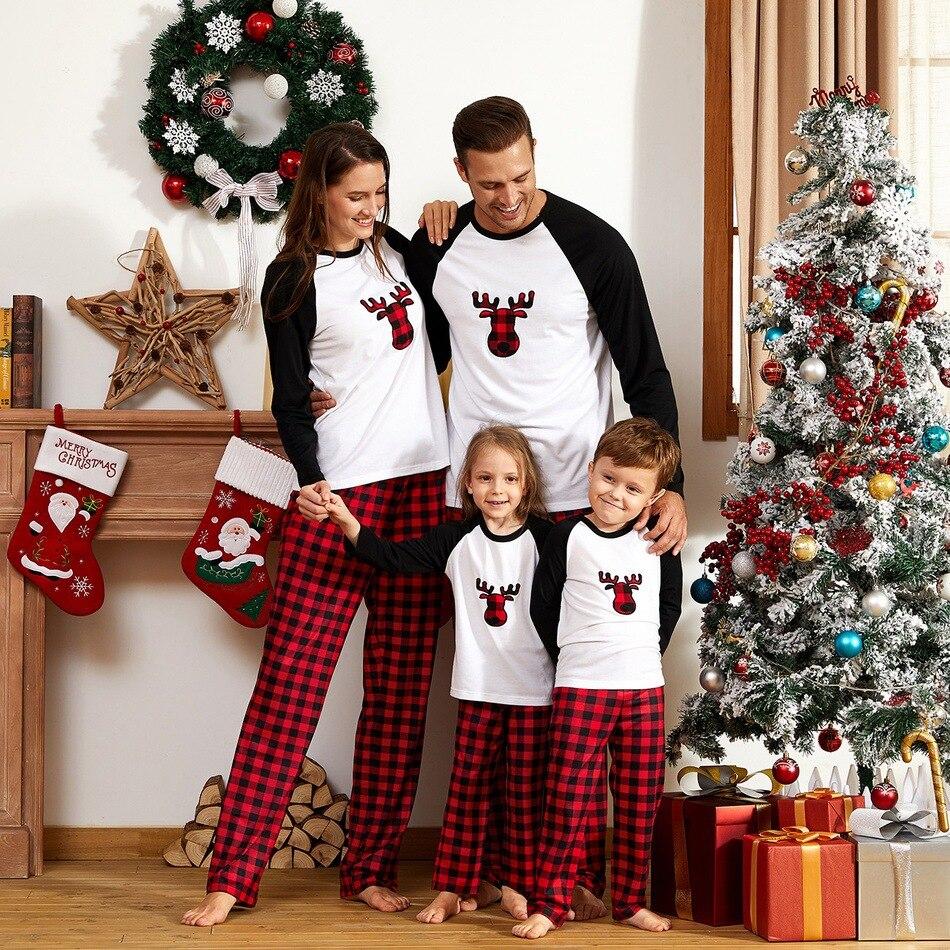 Family Christmas Matching Pajamas Set Xmas Adult Kids Cute Nightwear Pyjamas Deer Family Matching Outfits Family Look Sleepwear