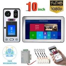 10 inç Wifi kablosuz yüz tanıma parmak izi IC görüntülü kapı telefonu kapı zili interkom sistemi kablolu 1080P kamera, Suppo