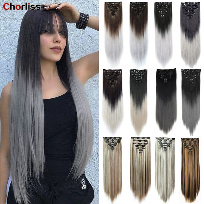 Chorliss Long Straight Hair Extension 7pcs/Set 16 Clips High Tempreture Synthetic Hairpiece Fiber Black Brown Hairpiece