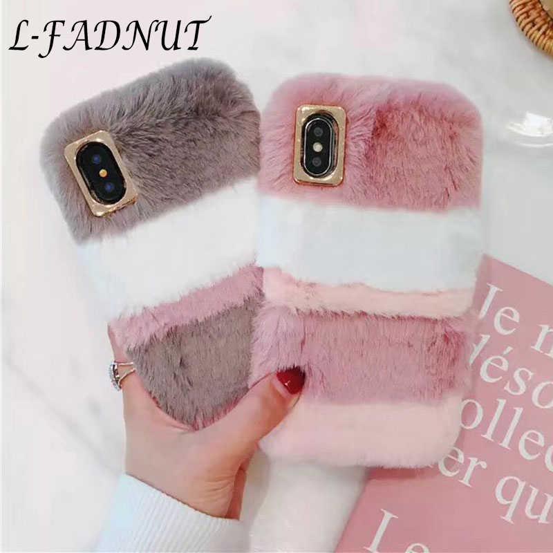 L-FADNUT Luxury Plush ขนสัตว์สำหรับ iPhone 11 Pro 7 8 6 6S 6 Plus 5 5S SE 2020 น่ารักนุ่มกันชนสำหรับ iPhone XR X XS MAX