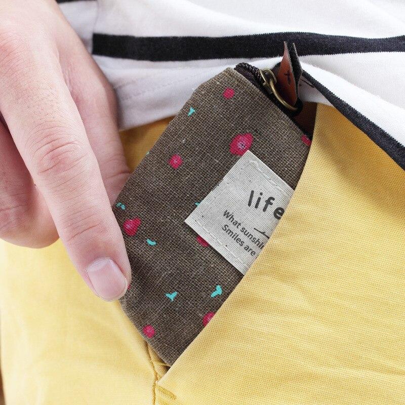Purse Cute Cartoon Mini Coin Bag Zipper Canvas Bag Hipster Floral Fabric Wallet Gift