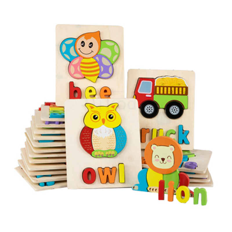 Montessori Educational Wooden Toy 3D Word Puzzle Wooden Sensory Mathematics Jigsaw Brain Training Early Intellectual LearningToy
