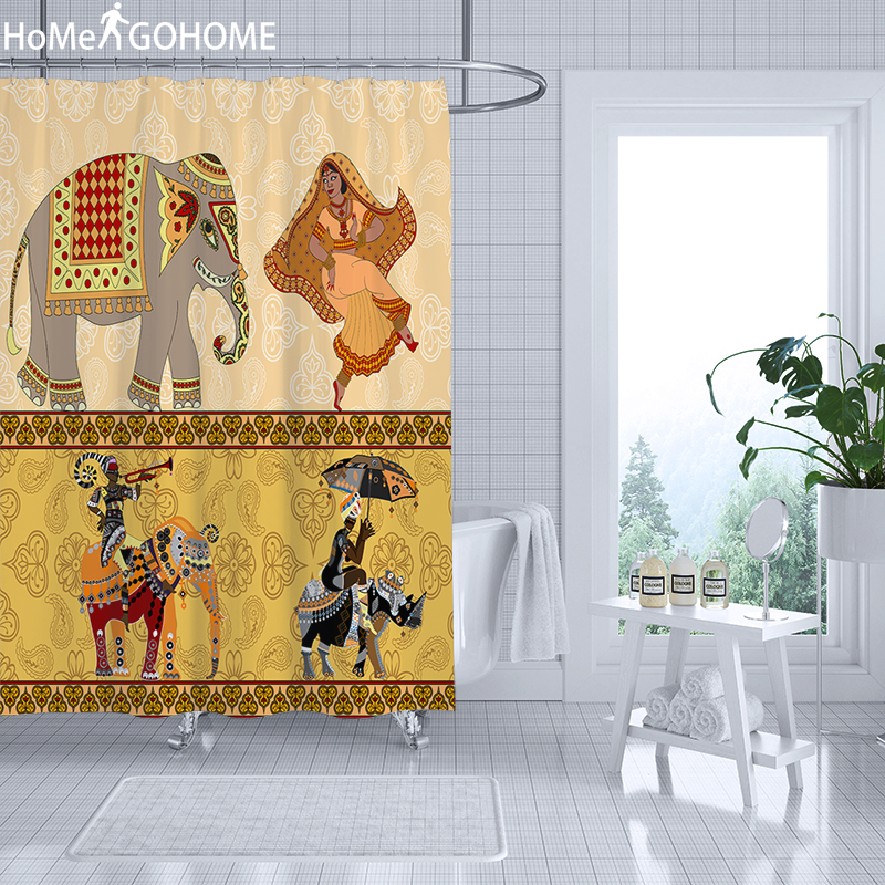 Elephant Shower Curtains African American Women Bathroonm Shower Curtains 3D Bath Curtain Waterproof Fabric Bathroom Screen in Shower Curtains from Home Garden